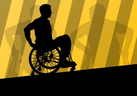 handicapped person: Active disabled men in a wheelchair detailed sport concept silhouette illustration background vector Illustration