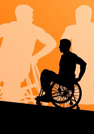 leg muscle: Los hombres con discapacidad activa en una detallada deporte concepto silueta ilustraci�n de fondo vector silla de ruedas