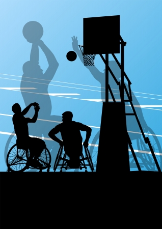 hopelessness: Active disabled men basketball players in a wheelchair detailed sport concept silhouette illustration background vector