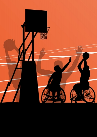 wheelchairs: Active disabled men basketball players in a wheelchair detailed sport concept silhouette illustration background vector