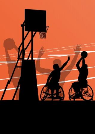 leg muscle: Hombres jugadores de baloncesto con discapacidad activa en una detallada deporte concepto silueta ilustraci�n de fondo vector silla de ruedas