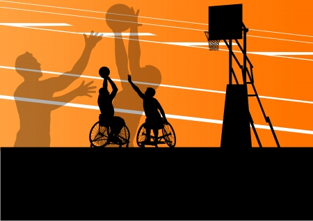 handicapped person: Active disabled men basketball players in a wheelchair detailed sport concept silhouette illustration background vector