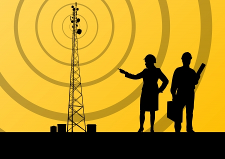 data transmission: Telecommunications radio tower or mobile phone base station with engineers in concept background Illustration