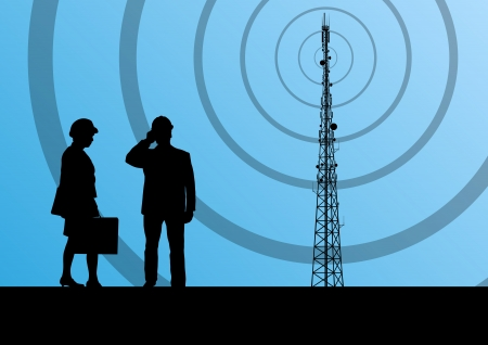 Telecommunications radio tower or mobile phone base station with engineers in concept background Иллюстрация