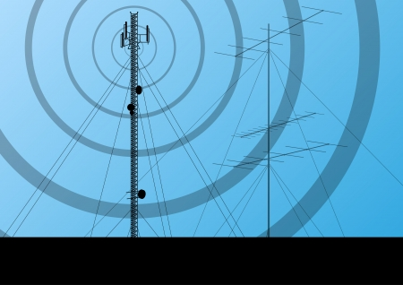 cell tower: Telecommunications radio tower or mobile phone base station concept background vector Illustration