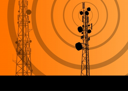 telecommunication tower: Telecommunications radio tower or mobile phone base station concept background vector Illustration
