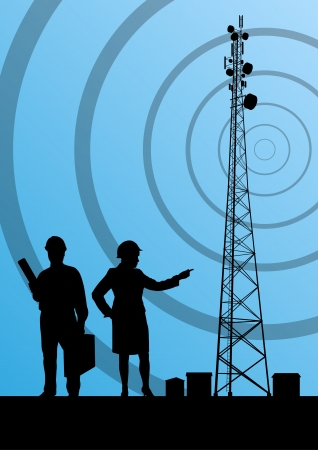 Telecommunications radio tower or mobile phone base station with engineers in concept background Illustration