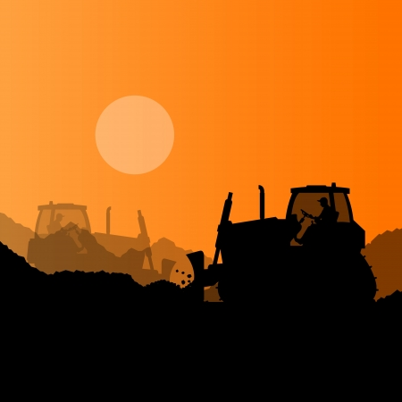 Bulldozer and excavator loader at industrial construction site vector background illustration Stock Vector - 22893913