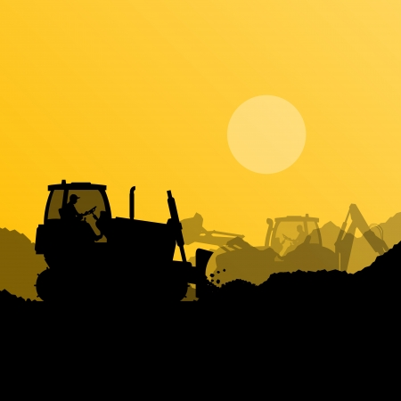 Bulldozer and excavator loader at industrial construction site vector background illustration Stock Vector - 22893914