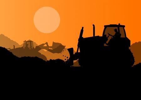 sandpit: Bulldozer y excavador del cargador en la industria de la construcci�n del sitio del fondo del vector Vectores
