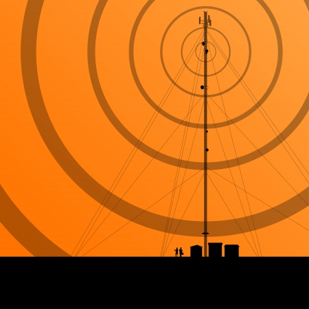 radio tower: Telecommunications radio tower or mobile phone base station concept background vector Illustration