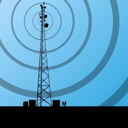 Telecommunicatie radiotoren of mobiele telefoon basisstation concept achtergrond vector