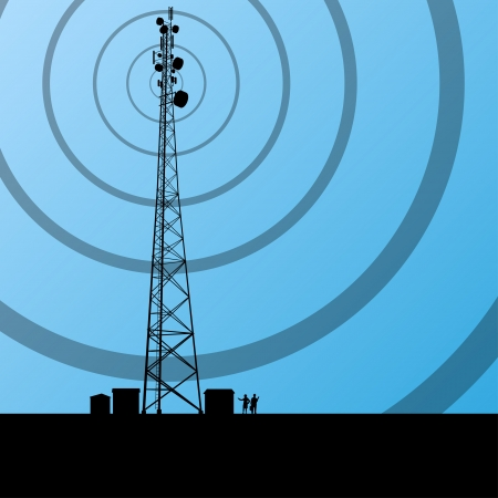 Torre radio telecomunicazioni o telefono cellulare di base station concetto sfondo illustrazione