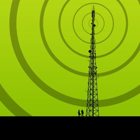 통신 라디오 타워 또는 휴대 전화 기지국 개념 배경 벡터 일러스트