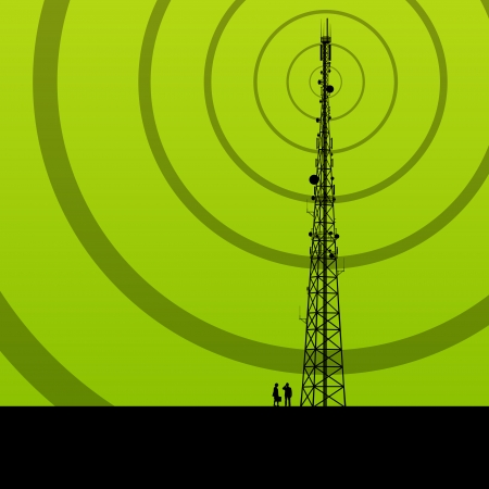 Telecommunications radio tower or mobile phone base station concept background vector Çizim