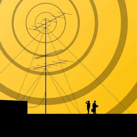 repeater: Telecommunications radio tower or mobile phone base station concept background vector Illustration