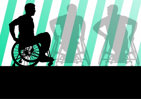 accessible: Active disabled men in a wheelchair detailed sport concept silhouette illustration background vector Illustration