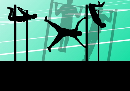 Active and strong fitness man doing push ups in sport silhouettes gym background illustration vector Vector