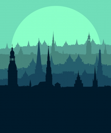 Old vintage city town landscape with moon in detailed illustration background vector Vector