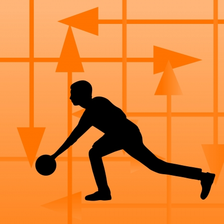 Bowling player silhouettes vector abstract background for poster Vector