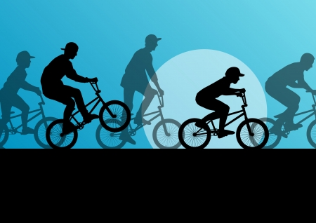 Extreme cyclist young active sport silhouettes vector background illustration Vector