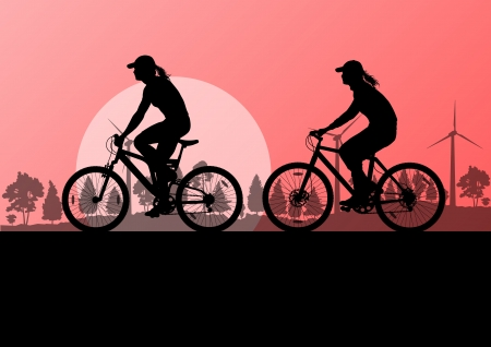 family park: Active cyclists bicycle riders in countryside nature landscape background illustration vector