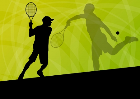 juniors: Teenager tennis players active sport silhouettes vector background illustration for poster Illustration
