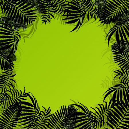 untamed: Exotic forest jungle leaves, grass and herbs wild untamed nature landscape illustration background vector for poster