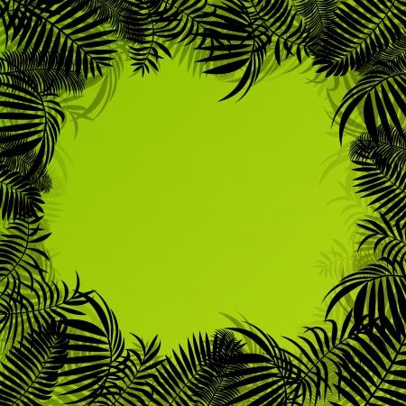 untamed: Hojas ex�ticas forestales selva, pastos y hierbas indomable paisaje de naturaleza salvaje ilustraci�n de fondo vector para el cartel
