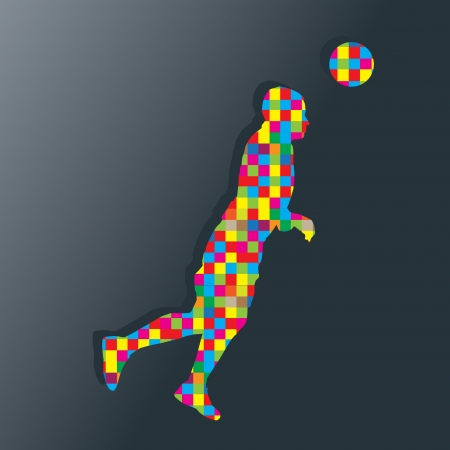Soccer player kicks the ball vector background concept for poster Vector
