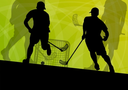 floor ball: Floor ball players active sport silhouettes vector abstract background illustration