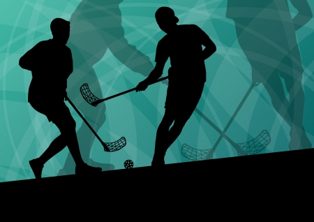 Floor ball players active sport silhouettes vector abstract background illustration