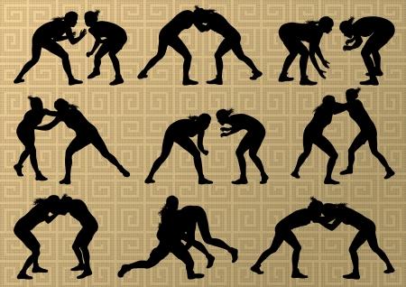 ギリシャ ローマに活発な若い女性スポーツ シルエット ベクトル抽象的な背景画像をレスリング 写真素材 - 23814108