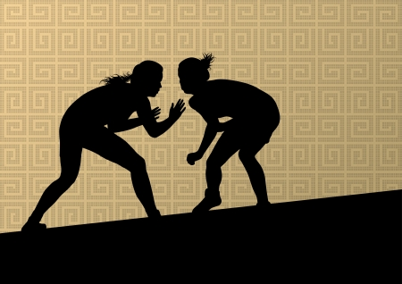 tough girl: Greek roman wrestling active young women sport silhouettes vector abstract background illustration