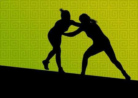 fiatal nők: Görög római birkózás aktív fiatal nők sport sziluettek vektor absztrakt háttér illusztráció Illusztráció