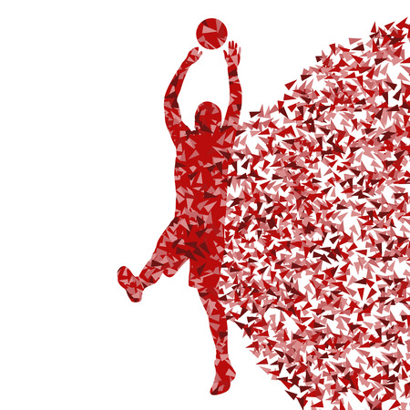 layup: Man basketball vector background silhouette made of triangle fragments
