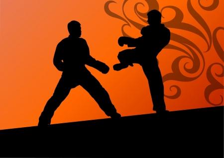 defensa personal: Activo taekwondo artes marciales combatientes de combate luchando y pateando deporte siluetas ilustraci�n de fondo vector