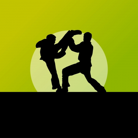 Active tae kwon do martial arts fighters combat fighting and kicking sport silhouettes illustration background vector Stock Vector - 23814126