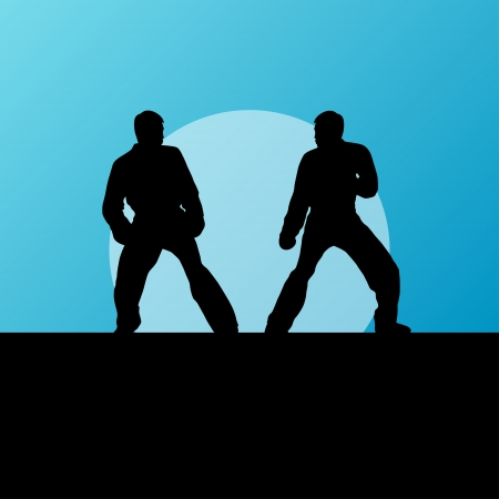 Active tae kwon do martial arts fighters combat fighting and kicking sport silhouettes illustration background vector Stock Vector - 23814128