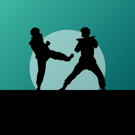 Active tae kwon do martial arts fighters combat fighting and kicking sport silhouettes illustration background vector Stock Vector - 23814129