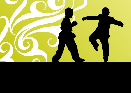 Active tae kwon do martial arts fighters combat fighting and kicking sport silhouettes illustration background vector Stock Vector - 23814127