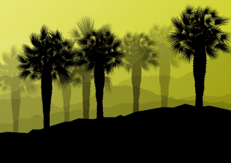 mirage: Palm tree silhouettes wild nature landscape background illustration vector for poster