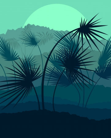 Exotic forest jungle leaves, grass and herbs wild untamed nature landscape illustration background vector Stock Vector - 23814139