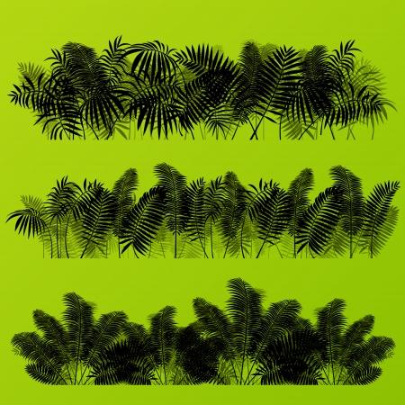 untamed: Hierba ex�tica selva tropical y las plantas detallada siluetas paisaje ilustraci�n colecci�n de vectores de fondo
