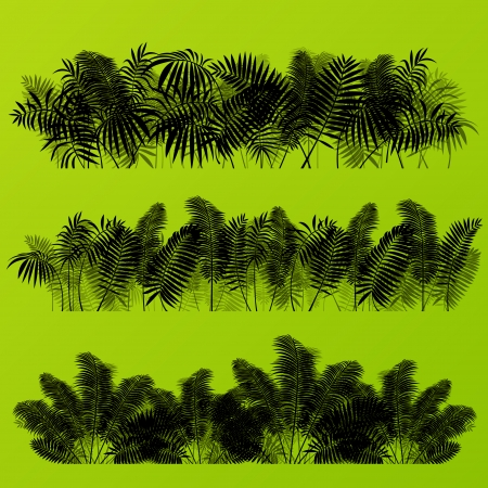 Tropical exotic jungle grass and plants detailed silhouettes landscape illustration collection background vector Illustration