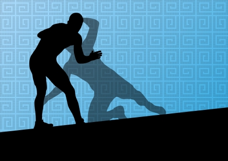 Greek roman wrestling active men sport silhouettes vector abstract background illustration Stock Vector - 23814146