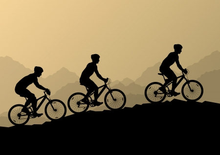 adrenalin: Active men cyclists bicycle riders in wild mountain nature landscape background illustration vector