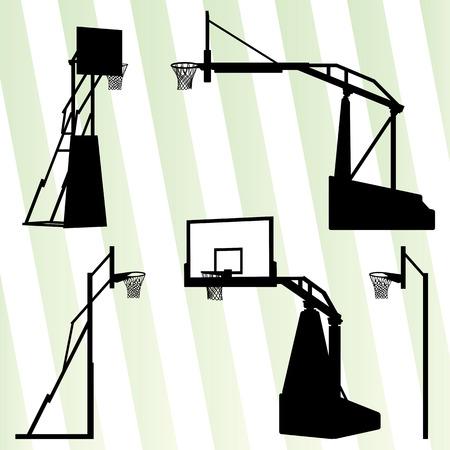 cancha de basquetbol: Aro de baloncesto vector concepto de conjuntos de fondo para el cartel