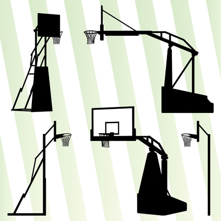 hoop: Basketball hoop vector background set concept for poster