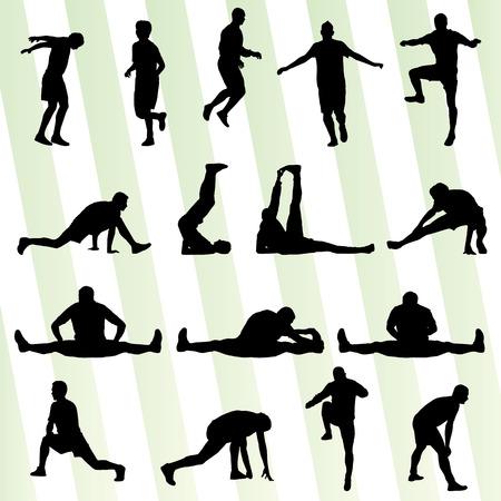男性のストレッチ体操のウォーミング アップのポスターのためのベクトルの背景  イラスト・ベクター素材